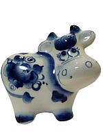 Фигурка бычка Федор С - n000138 (Гжель)