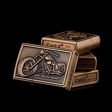 Зажигалка бензиновая серия Bike «BLG Mulna Blhet» бронза