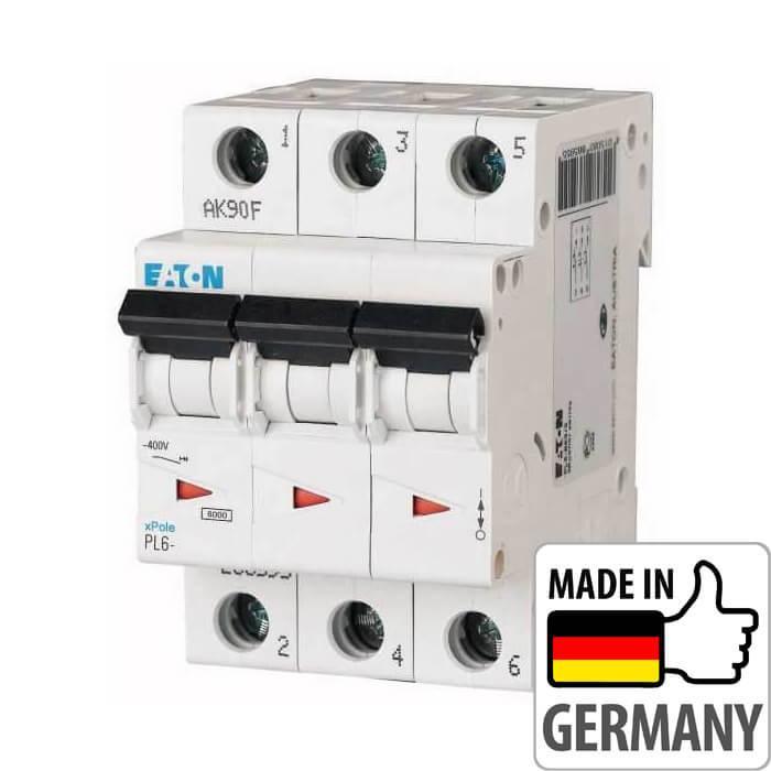 Автоматический выключатель PL6 Eaton, 4А, 3-полюсный PL6-C4/3