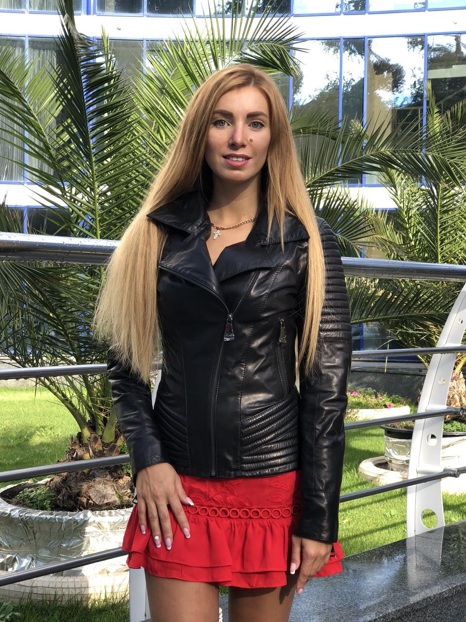 Женская кожаная куртка Fabio Monti, приталеная, 42 ( 42, 44, 46 ) черный, кожа 003