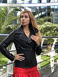 Женская кожаная куртка Fabio Monti, приталеная, 42 ( 42, 44, 46 ) черный, кожа 003, фото 2