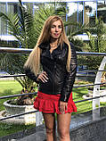 Женская кожаная куртка Fabio Monti, приталеная, 42 ( 42, 44, 46 ) черный, кожа 003, фото 3