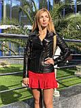Женская кожаная куртка Fabio Monti, приталеная, 42 ( 42, 44, 46 ) черный, кожа 003, фото 7