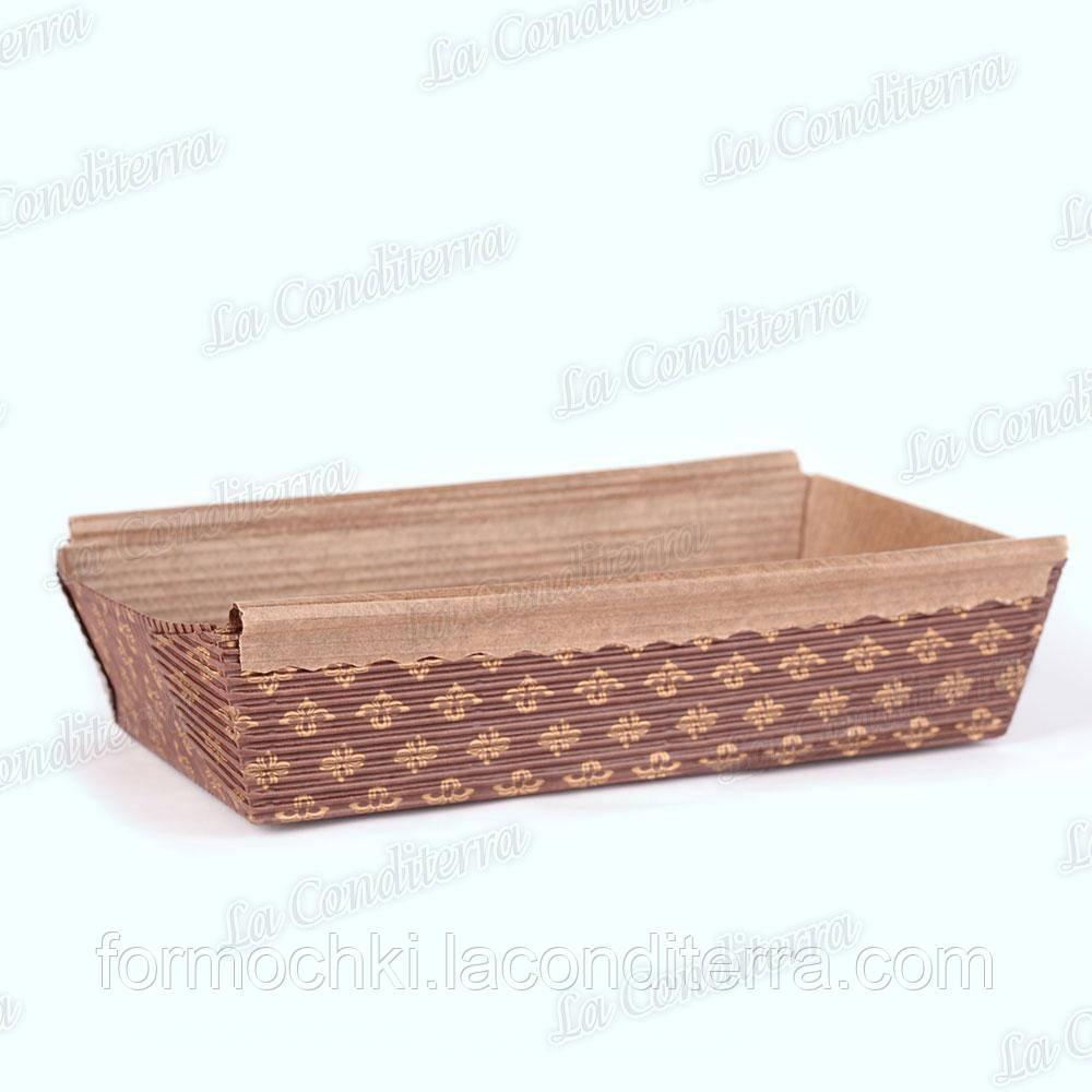Форма для выпечки прямоугольная коричневая с бронзовыми цветами, 200×110×50 мм