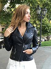 Женская кожаная куртка Fabio Monti, с молниями, 42 ( 42, 44, 46, 48 ) черный, кожа 004