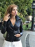 Женская кожаная куртка Fabio Monti, с молниями, 42 ( 42, 44, 46, 48 ) черный, кожа 004, фото 2