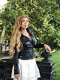 Женская кожаная куртка Fabio Monti, с молниями, 42 ( 42, 44, 46, 48 ) черный, кожа 004, фото 3