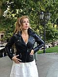 Женская кожаная куртка Fabio Monti, с молниями, 42 ( 42, 44, 46, 48 ) черный, кожа 004, фото 6