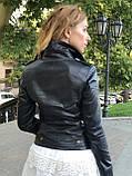 Женская кожаная куртка Fabio Monti, с молниями, 42 ( 42, 44, 46, 48 ) черный, кожа 004, фото 7
