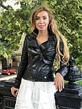 Женская кожаная куртка Fabio Monti, с молниями, 42 ( 42, 44, 46, 48 ) черный, кожа 004, фото 9