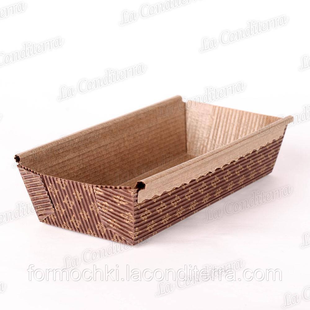 Форма для випічки прямокутна коричнева з бронзовими квітами, 200×90×50 мм