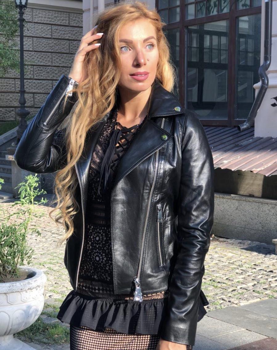 Женская кожаная куртка Fabio Monti, английский воротник, 42 ( 40, 42, 44, 46, 48 ) черный, кожа 42
