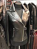 Женская кожаная куртка Fabio Monti, английский воротник, 42 ( 40, 42, 44, 46, 48 ) черный, кожа 42, фото 3