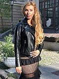 Женская кожаная куртка Fabio Monti, английский воротник, 42 ( 40, 42, 44, 46, 48 ) черный, кожа 42, фото 6