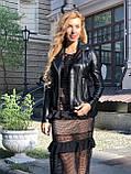 Женская кожаная куртка Fabio Monti, английский воротник, 42 ( 40, 42, 44, 46, 48 ) черный, кожа 42, фото 7