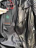 Женская кожаная куртка Fabio Monti, английский воротник, 42 ( 40, 42, 44, 46, 48 ) черный, кожа 42, фото 8