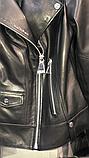 Женская кожаная куртка Fabio Monti, английский воротник, 42 ( 40, 42, 44, 46, 48 ) черный, кожа 42, фото 9