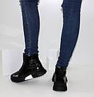 Демисезонные женские спортивные ботинки черные лаковые, фото 9