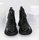 Демисезонные женские спортивные ботинки черные лаковые, фото 5
