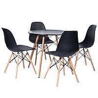 Столик кухонный обеденный Bonro В-957-800 80х75 см + 4 черных кресла B-173