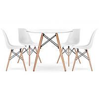 Столик кухонный обеденный Bonro В-957-900 90х75 см + 4 белых кресла B-173