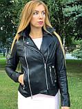 Женская кожаная куртка Fabio Monti, из кожи Джамбо, 42 ( 42, 44, 46, 48 ) черный, кожа 38, фото 5