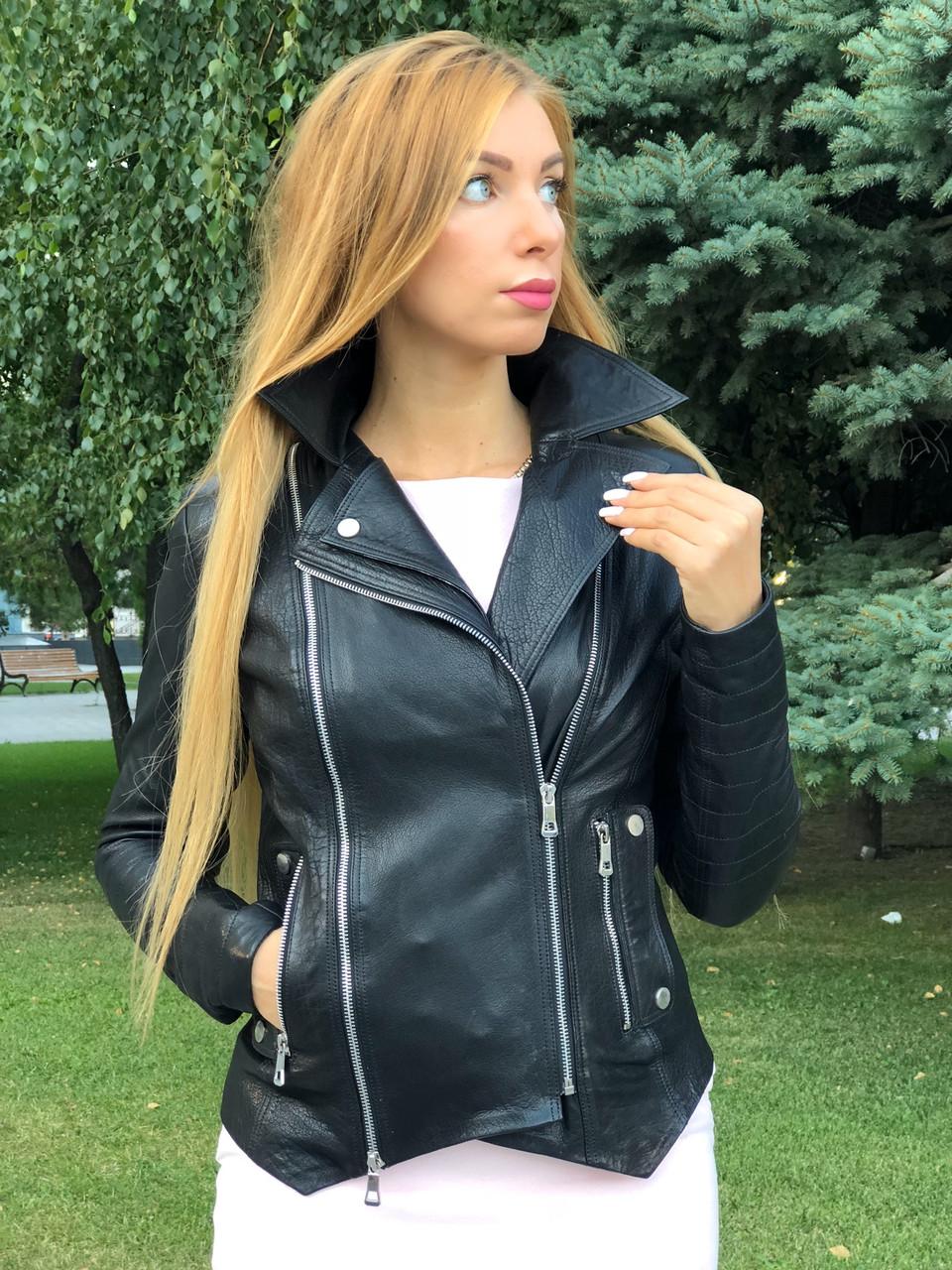 Жіноча шкіряна куртка Fabio Monti, з шкіри Джамбо, 42 ( 42, 44, 46, 48 ) чорний, шкіра 38