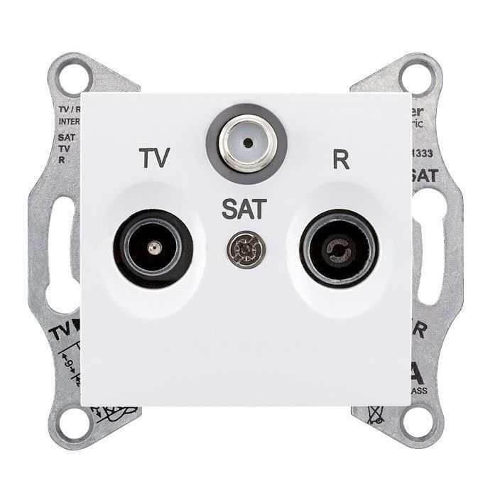 SDN3501221 Розетка TV/R/SAT прохідна 8 dB Sedna. Колір Білий