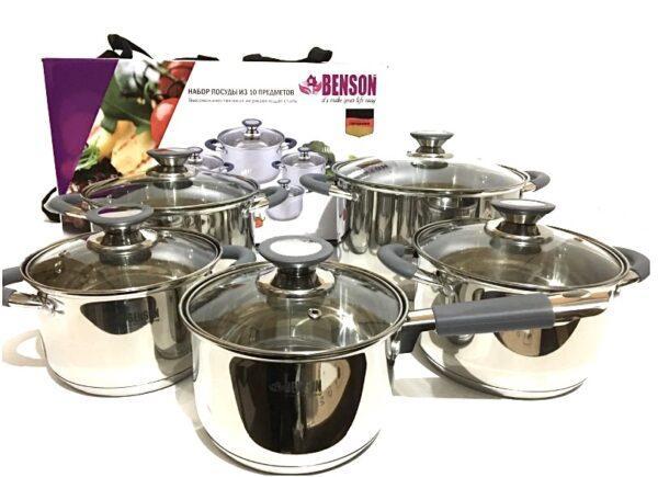 Набор кастрюль из нержавеющей стали 10 предметов Benson  (2.1 2.9 3.9 6.5 литров ковш 2.1л )  BN-192