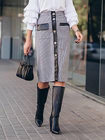 Прямая женская юбка до колен со вставками из экокожи,  размер от 44 до 56