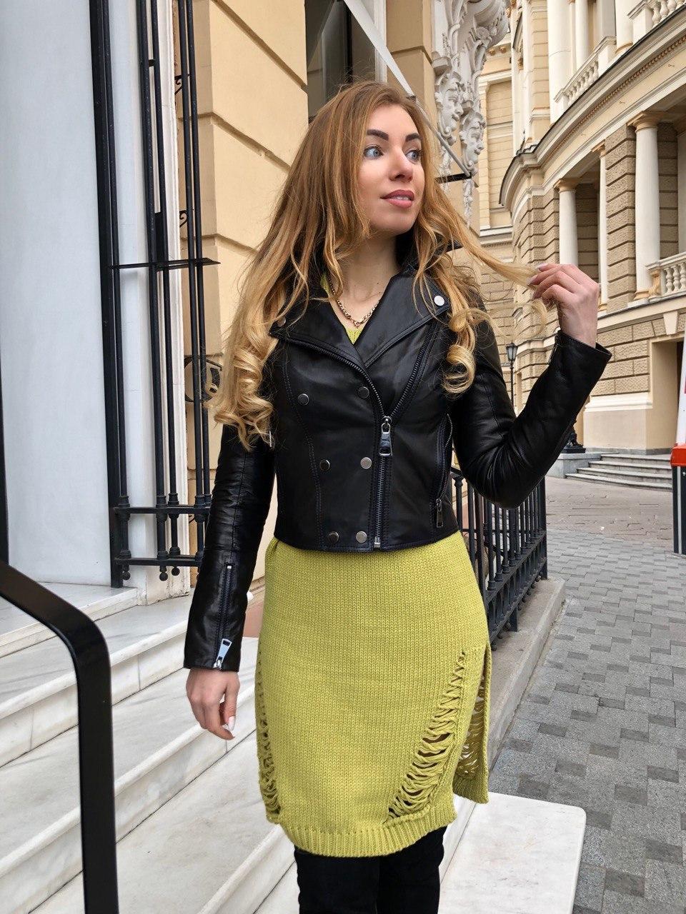 Женская кожаная куртка Fabio Monti, укороченная, 42 ( 42, 44, 46 ) черный, кожа 42