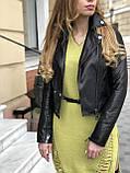Женская кожаная куртка Fabio Monti, укороченная, 42 ( 42, 44, 46 ) черный, кожа 42, фото 2