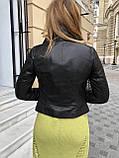 Женская кожаная куртка Fabio Monti, укороченная, 42 ( 42, 44, 46 ) черный, кожа 42, фото 6