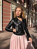 Женская кожаная куртка Fabio Monti, укороченная с поясом, 42 ( 42, 44, 46 ) черный, кожа 42, фото 2