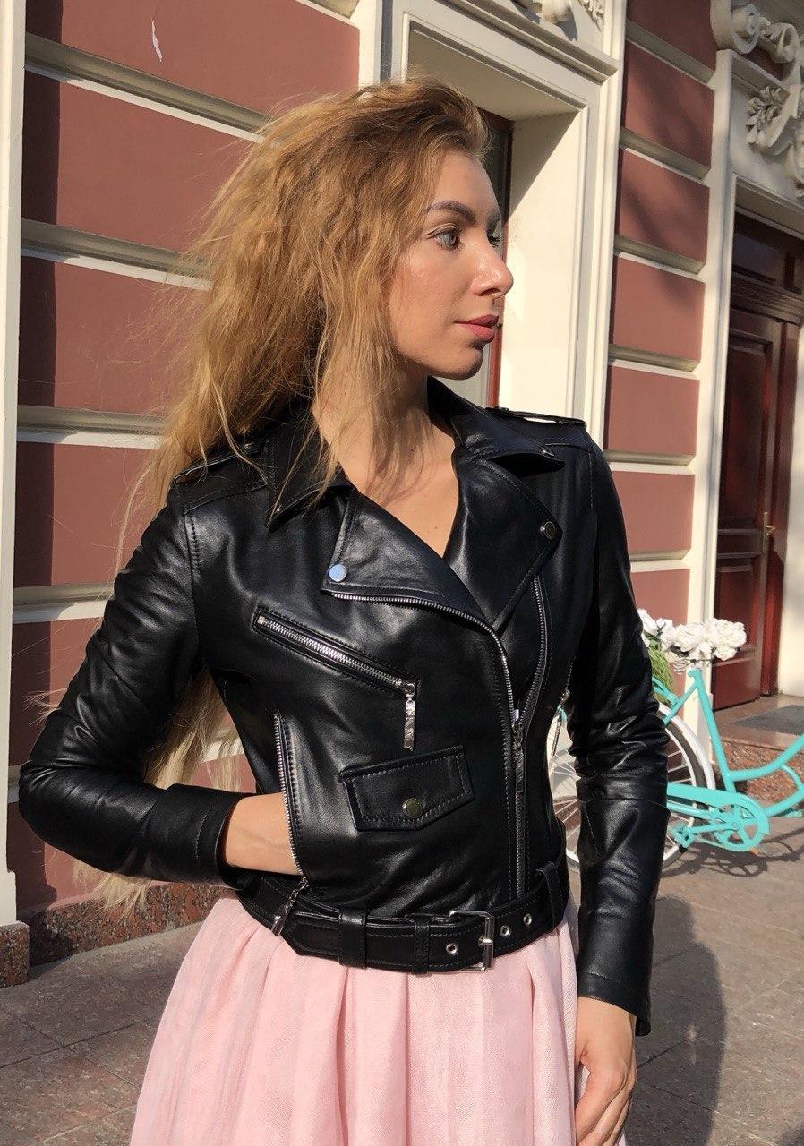 Женская кожаная куртка Fabio Monti, укороченная с поясом, 42 ( 42, 44, 46 ) черный, кожа 42