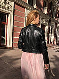Женская кожаная куртка Fabio Monti, укороченная с поясом, 42 ( 42, 44, 46 ) черный, кожа 42, фото 7