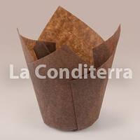 Коричневые формочки для кексов Тюльпан (150 шт., d=35 мм, высота бортика=35/50 мм)
