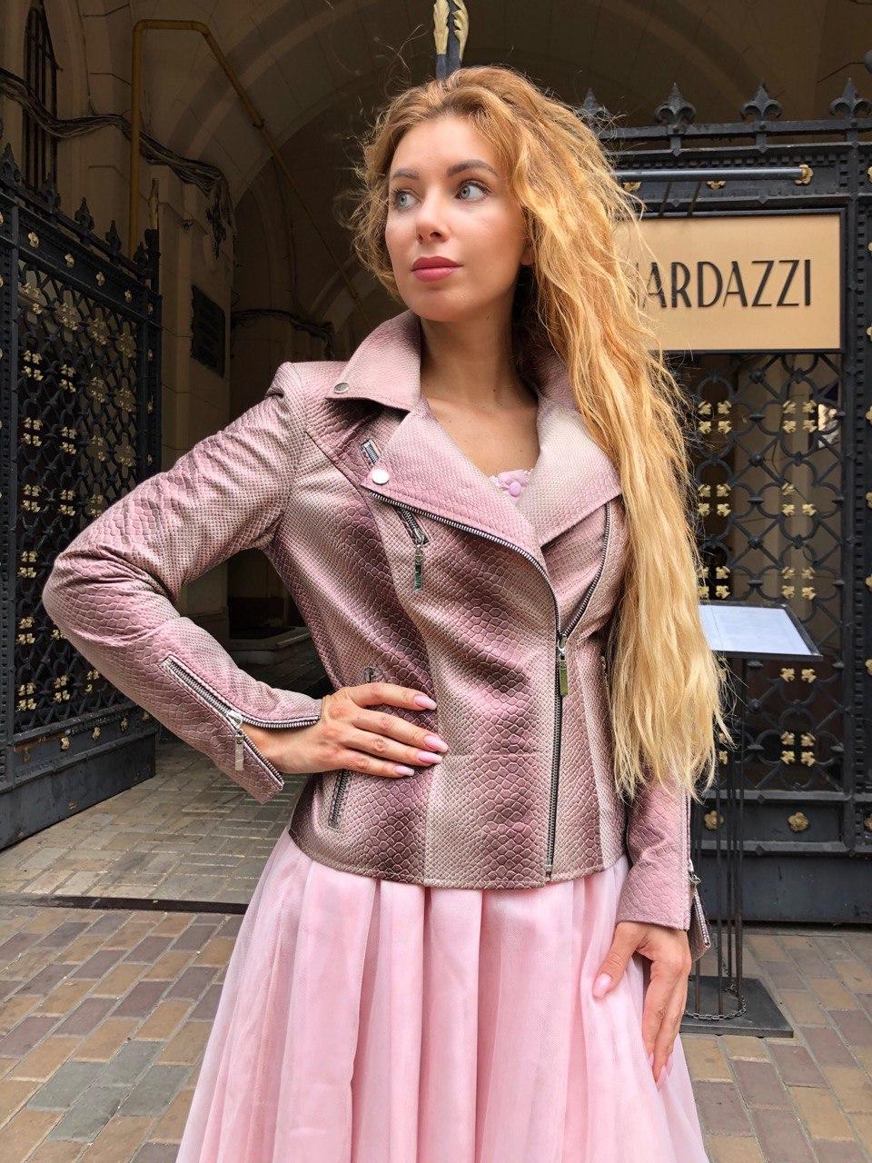 Женская кожаная куртка Deloras, классика, 44, розовый, кожа 94