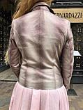 Женская кожаная куртка Deloras, классика, 44, розовый, кожа 94, фото 5