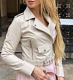 Женская кожаная куртка Deloras, укороченная с поясом, 42 ( 42, 44, 46 ) бежевый, кожа 93, фото 2