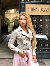 Женская кожаная куртка Deloras, укороченная с поясом, 42 ( 42, 44, 46 ) бежевый, кожа 93