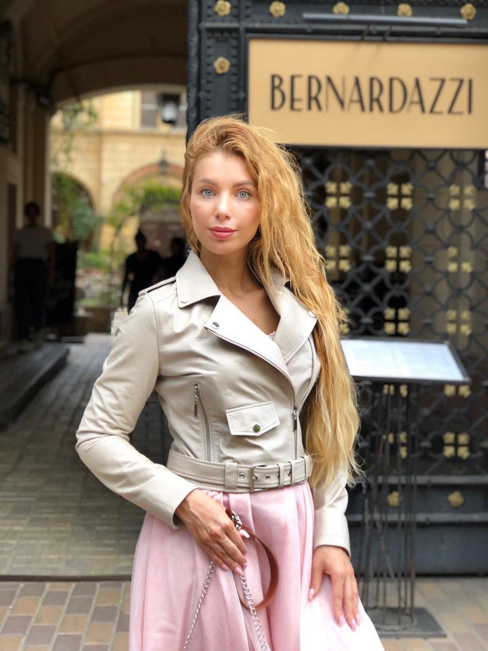 Жіноча шкіряна куртка Clifton, укорочена з поясом, 42 ( 42, 44, 46 ) бежевий, шкіра 93