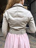 Женская кожаная куртка Deloras, укороченная с поясом, 42 ( 42, 44, 46 ) бежевый, кожа 93, фото 3