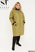 Куртка пальто стеганое хаки