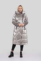 Очень теплый женский зимний пуховик большого размера на термо-подкладке с капюшоном, цвета, 46/48/50/52/54/56/