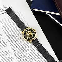 Механические мужские часы Forsining Черные с золотым с гарантией