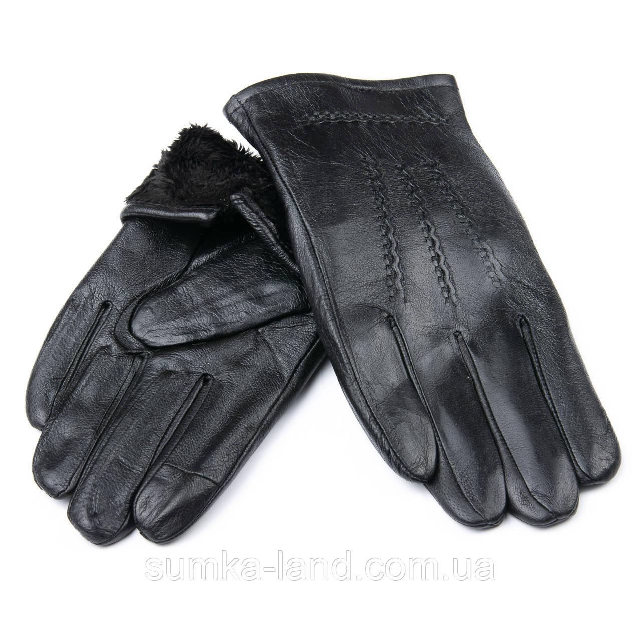 Мужские черные кожаные перчатки Palao на шерстяной подкладке