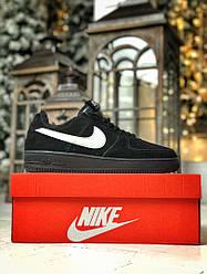 Кроссовки Nike Air Force Black Fur черные замш с мехом