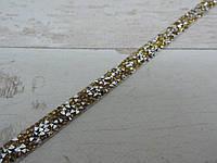 Страхова смужка на силіконі 1х40 см, срібло + золоті камені.