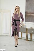 Красивое платье с имитацией запаха под пояс из креп-костюмки с кружевом Размер: 42, 44, 46 арт: 3016/1